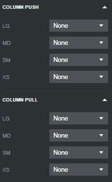 Options for Columns