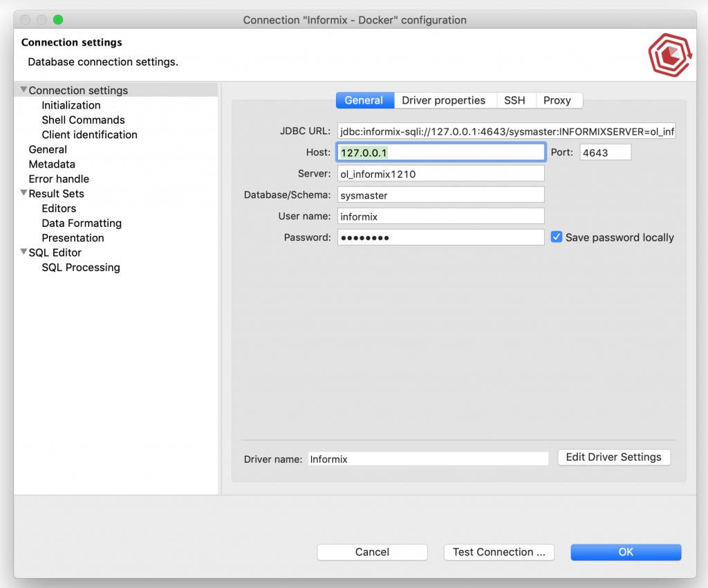Informix DB Default Connection